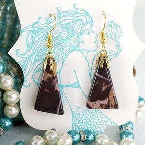 Dark Brown Natural Agate Stone Earrings